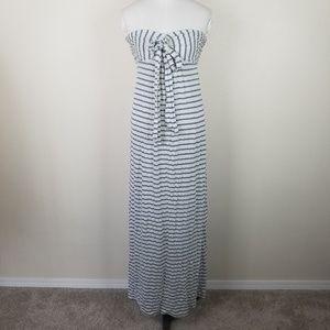 Splendid Striped Strapless Maxi Dress Tie Front